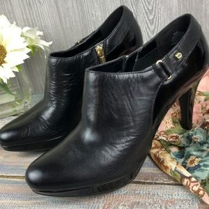 Patton Leather Ankle Booties Heels by Bandolino